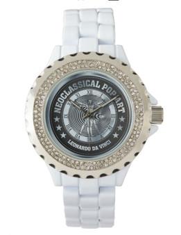 Da Vinci Metalic Light Blue Women's Rhinestone White Enamel Watch by Neoclassical Pop Art
