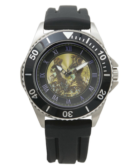 Rembrandt Yellow Warrior Men's Stainless Steel Black Rubber Strap Watch by  Neoclassical Pop Art