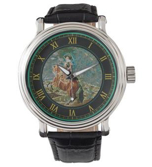Velázquez  Men's Vintage Black Leather Strap Horse Watch  by Neoclassical Pop Art