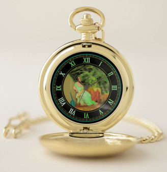 Lady with a Violin Gold Pocket Watch  by Neoclassical Pop Art