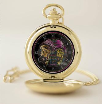 Van Gogh Hot Pink Hat Portrait Pocket Watch by Neoclassical Pop Art