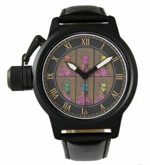 Botticelli Dante Men's Crown Protector Black Leather Strap Watch Neoclassical Pop Art