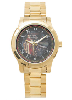 an Dyck  King Henry Unisex Oversized Gold Bracelet Watch by Neoclassical Pop Art