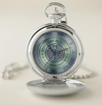 Da Vinci Blue Green Pocket Watch: Silver by Neoclassical Pop Art