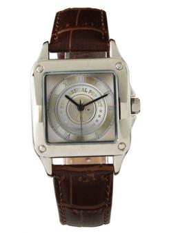 Da Vinci Women's Perfect Square Brown Leather Strap Watch by Neoclassical Pop Art