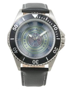 Da Vinci  Vitruvian Man Men's Stainless Steel Black Leather Strap Watch by Neoclassical Pop Art