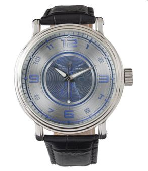 Da Vinci Blue Vitruvian Man Silver Men's Vintage Black Leather Strap Watch by Neoclassical Pop Art