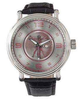 Da Vinci  Red Vitruvian Men's Classic Black Leather Strap Watch by Neoclassical pop art