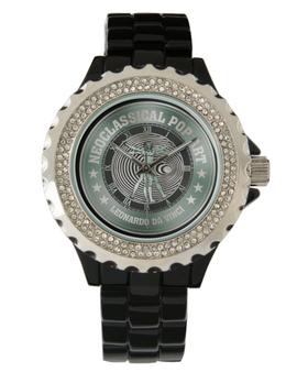 Da Vinci| Vitruvian Man Women's Rhinestone Green Black Enamel Watch by neoclassical pop art