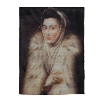 On Sale Sánchez Coello Lady in a Fur Wrap Velveteen Plush Blanket by Neoclassical Pop Art