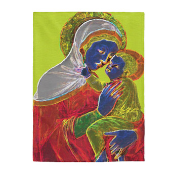 On Sale Duccio Madonna and Child Velveteen Plush Blanket by Neoclassical Pop Art
