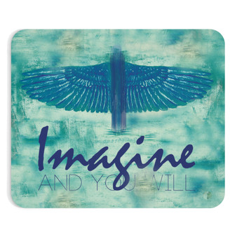 On Sale Da Vinci Study of Bird Wings Turquoise & Navy Blue Mousepad by Neoclassical Pop Art