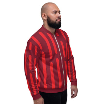 On Sale Red & Burgundy  Pop Sacred Geometry Bomber Jacket by Neoclassical Pop Art
