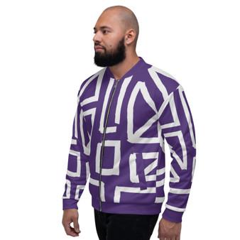 On Sale Purple & Light  Grey  Sacred Geometry Bomber Jacket by Neoclassical Pop Art