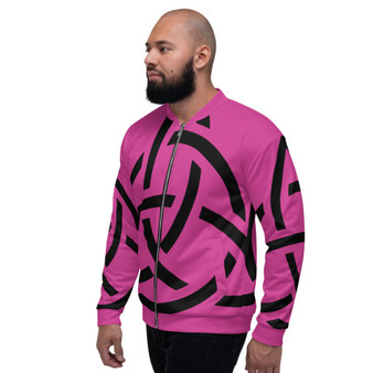On Sale Pink & Black Sacred Geometry Bomber Jacket  by Neoclassical Pop Art