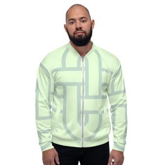 On Sale Sacred Geometry by Pop Tea Light Green Bomber Jacket by Neoclassical pop art