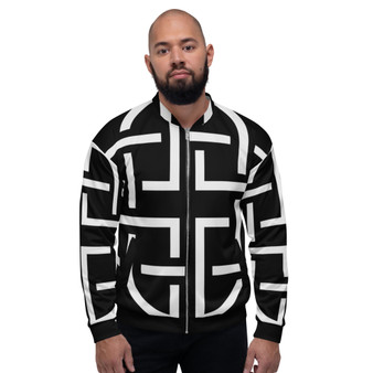 On Sale  Black & White Sacred Geometry Bomber Jacket  by Neoclassical Pop Art