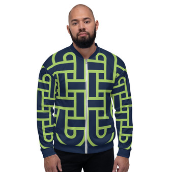 On Sale Sacred Geometry Navy Blue & Green Pop Bomber Jacket by Neoclassical Pop Art