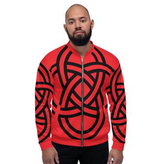 On Sale Sacred Geometry Red Black Pop Bomber Jacket  | Neoclassical Pop Art