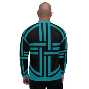 On Sale Sacred Geometry  Black &  Teal Blue Bomber Jacket by Neoclassical Pop Art