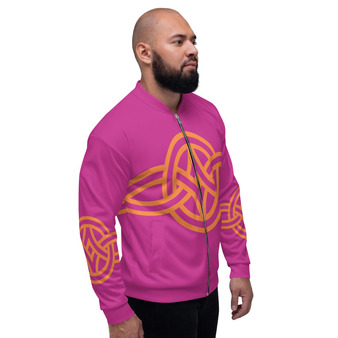 On Sale Sacred Geometry Hop Pink & Orange Pop Bomber Jacket by Neoclassical Pop Art