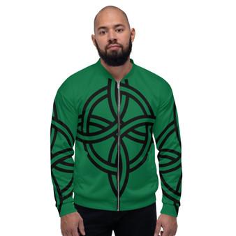 On Sale Sacred Geometry Green Black Pop Bomber Jacket by Neoclassical Pop Art