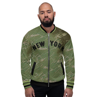 On Sale Olive Green New Your Bomber Jacket  by Neoclassical Pop Art