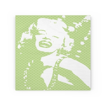 Marylin Monroe J'adore Pop Portrait Light Green Portrait Print on Wood Canvas by Neoclassical Pop Art