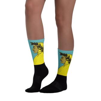 fun collectible sandro borricålli dante neoclassical pop art yellow art socks