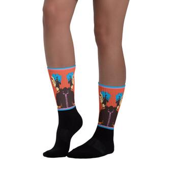the best Orange Blue pink & Black Sandro Botticelli Saint Catherina Neoclassical pop fun Art Socks  by Neoclassical Pop Art online designer brand shop