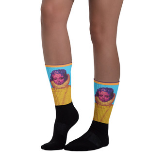 On sale cute Rubens Infanta Isabella yellow blue pink Black foot socks  by Neoclassical Pop art online brand store