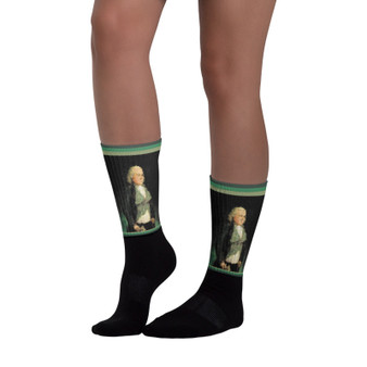 The coolest trendy Goya Green & Black Man foot socks by Neoclassical Pop Art online designer brand store