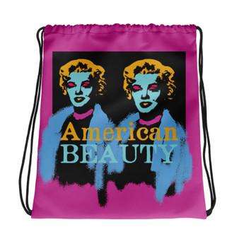 Marilyn Monroe American Beauty pink blue yellow light blue Neoclassical Pop Art cool Drawstring bag  with da vinci vitruvian man for sale online.