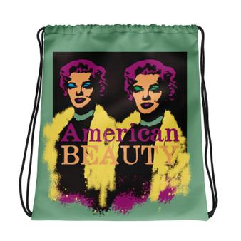 Marilyn Monroe American Beauty Blue Green Purple light blue Neoclassical Pop Art Drawstring bag