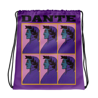 Neoclassical pop art collectible Botticelli  Dante Purple green yellow cool Drawstring bag  with Leonardo da vinci vitruvian man on the back