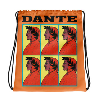 Neoclassical pop art collectible Botticelli  Dante Purple orange light blue cool Drawstring bag  with Leonardo da vinci vitruvian man on the back