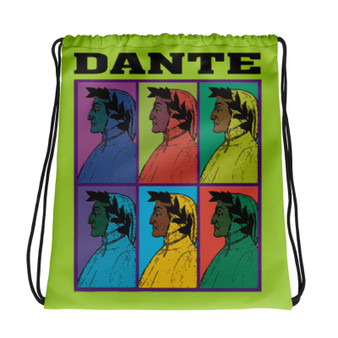 Neoclassical pop art collectible Botticelli  Dante  green yellow orange pink light blue cool Drawstring bag  with Leonardo da vinci vitruvian man on the back
