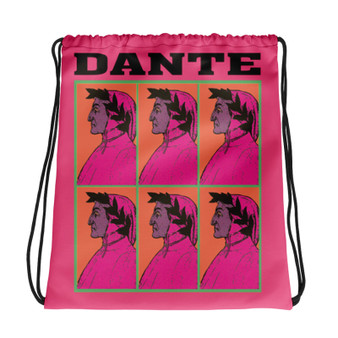 Neoclassical pop art collectible Botticelli  Dante pink orange cool Drawstring bag  with Leonardo da vinci vitruvian man on the back