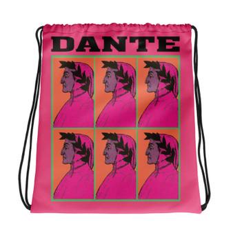 Neoclassical pop art collectible Botticelli  Dante pink orange cool Drawstring bag  with Leonardo da vinci vitruvian man on the back
