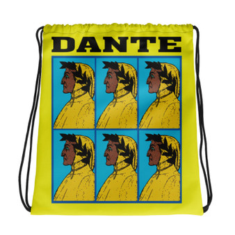 Neoclassical pop art collectible Botticelli  Dante brown yellow yellow cool Drawstring bag  with Leonardo da vinci vitruvian man on the back