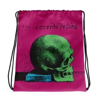 the best light blue pink green cool Drawstring bag  with Neoclassical pop art skull after da vinci