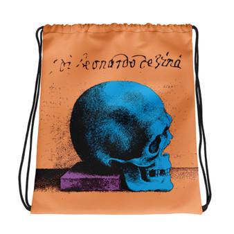the best peach purple blue cool trendy Drawstring bag  with Neoclassical pop art skull after da vinci