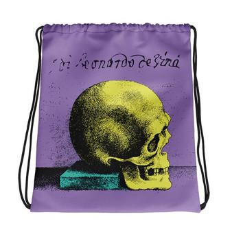 the best lilac yellow blue trendy Drawstring bag  with Neoclassical pop art skull after da vinci  and da vinci vitruvian man on the back