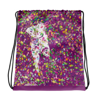 for sale online purple cool Drawstring bag  with Neoclassical pop art skull after Van Gogh self portrait and da vinci vitruvian man on the back