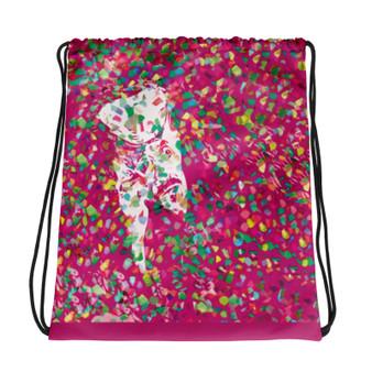 pink cool Drawstring bag  with Neoclassical pop art after Van Gogh self portrait and da vinci vitruvian man on the back