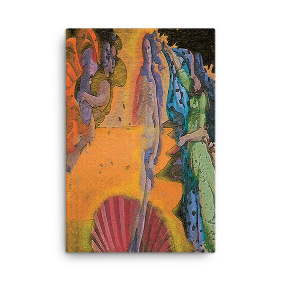 On Sale Botticelli The Birth of Venus Green Blue Orange & Red Oil on Canvas by Neoclassical Pop Art