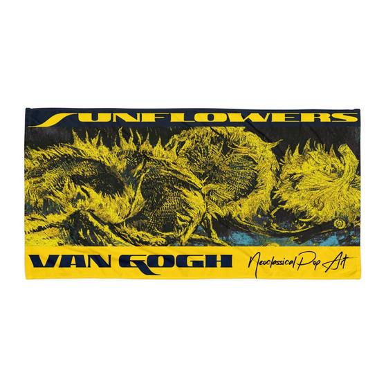 Van Gogh sunflowers designer beach towels by  Neoclassical pop art