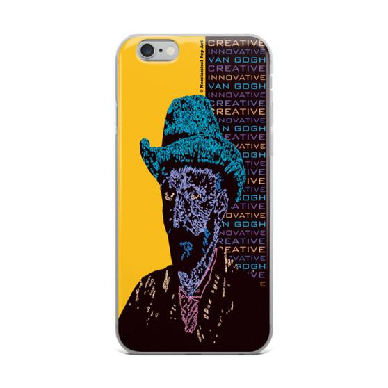 Neoclassical pop art van gogh Blue hat on Yellow Self Portrait in hat iphone cases