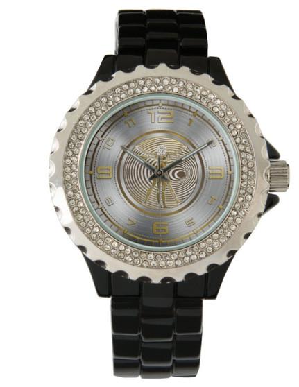 Da Vinci by Women's Rhinestone Silver Black Enamel Watch