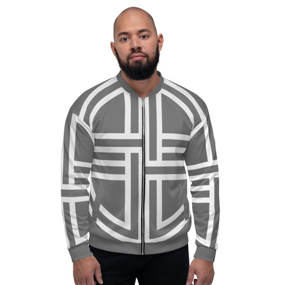 On Sale Light Grey & White  Sacred Geometry Bomber Jacket by  Neoclassical Pop Art
